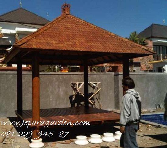 GAZEBO KAYU JATI >> Jual Gazebo Kayu Jati Jepara Model Saung Minimalis Taman Harga Murah