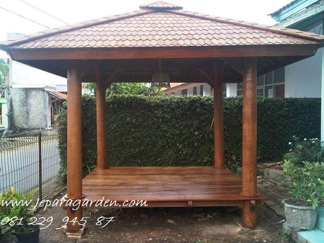 GAZEBO KAYU KELAPA >> Jual Gazebo Kayu Kelapa Glugu Saung Minimalis Model Sirap 2x2 Harga Murah