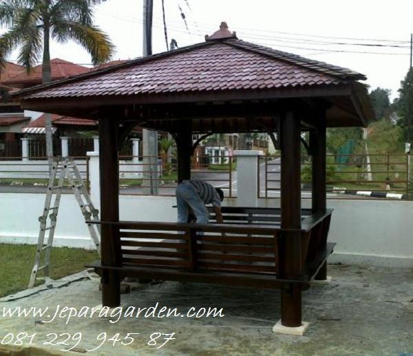 GAZEBO MINIMALIS >> Jual Gazebo Minimalis Model Saung Kayu Jati Jepara Atap Sirap 2x2 Harga Murah