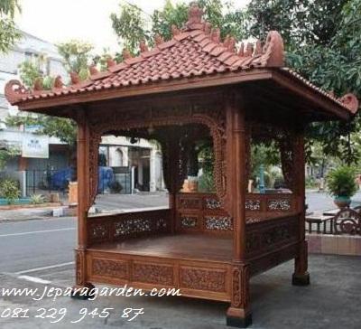 GAZEBO UKIR-UKIRAN >> Jual Gazebo Ukir-Ukiran Kayu Jati Jepara Model Saung Taman 2x2 Minimalis Mewah Klasik Harga Murah