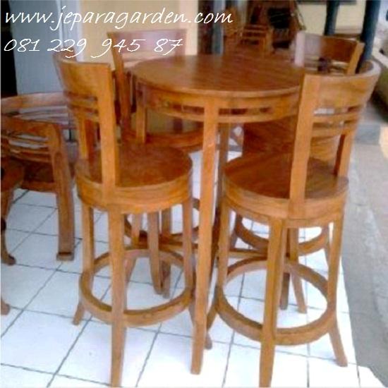 Jual Kursi Bar Bundar Putar Stool Cafe Kayu Jati Minimalis Murah