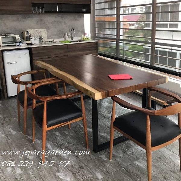 Jual Set Meja Makan Cafe Kayu Meh Murah Model Kursi Trembesi Minimalis Mewah Modern Klasik Kaki Besi Harga Murah